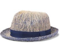 Grosgrain-Trimmed Mélange Straw Trilby Hat