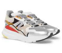 Exaggerated-sole Leather, Suede And Mesh Sneakers
