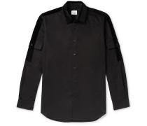 Slim-Fit Velvet-Trimmed Cotton-Poplin Shirt