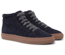 Apollo Nubuck-trimmed Suede High-top Sneakers