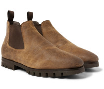 Shearling-lined Oiled-suede Chelsea Boots - Brown