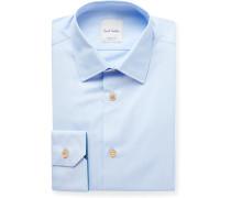Light-Blue Slim-Fit Cotton-Poplin Shirt