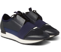 Race Runner Leather, Suede And Neoprene Sneakers