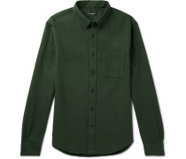 Slim-fit Button-down Collar Brushed Cotton-twill Shirt - Green