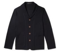 Slim-fit Shawl-collar Virgin Wool Cardigan - Midnight blue