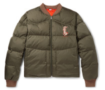 Quilted Embroidered Ripstop Down Jacket - Green