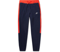 Tapered Shell-trimmed Fleece Sweatpants - Navy