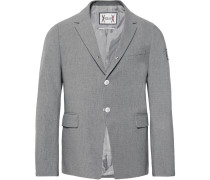 Grey Slim-fit Cotton-seersucker Blazer