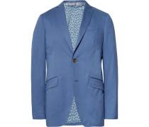 Blue Slim-fit Stretch-cotton Suit Jacket