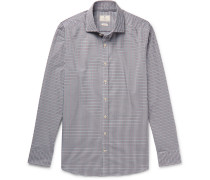 Slim-fit Cutaway-collar Checked Cotton Shirt