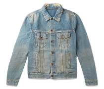 Slim-fit Logo-print Distressed Denim Jacket