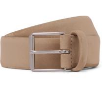 3.5cm Beige Nubuck Belt - Beige