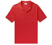Slim-fit Embroidered Cotton-jersey Polo Shirt - Tomato red
