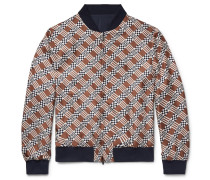 Reversible Printed Silk-twill And Matte-satin Bomber Jacket