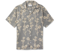 Canty Camp-collar Printed Tencel Shirt - Gray