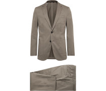 Taupe Nolin/ Brider Slim-Fit Cotton-Blend Sateen Suit