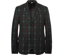 Embroidered Checked Wool-twill Blazer