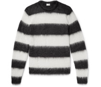 Distressed Striped Mohair-blend Sweater - Black