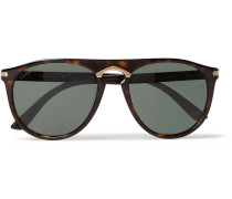Round-frame Tortoiseshell Acetate And Gold-tone Polarised Sunglasses - Tortoiseshell