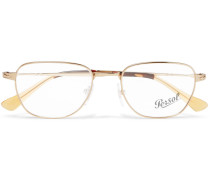 D-frame Gold-tone Optical Glasses - Gold