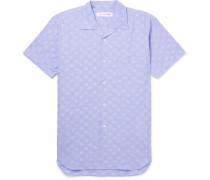 Camp-collar Polka-dot Cotton-seersucker Shirt