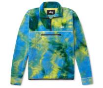 Tie-dyed Fleece Half-zip Sweatshirt - Green