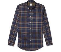 Button-Down Collar Checked Stretch-Cotton Twill Shirt