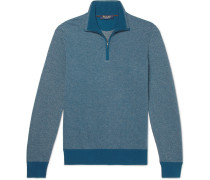 Roadster Striped Cashmere Half-zip Sweater - Blue