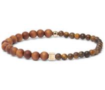 Wood And 14-karat Gold Bead Bracelet