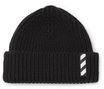 Logo-embroidered Ribbed Wool Beanie