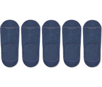 Five-pack Invisible Touch Pima Cotton-blend No-show Socks - Blue