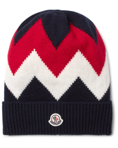 Tricot Intarsia Wool And Cashmere-blend Beanie - Navy
