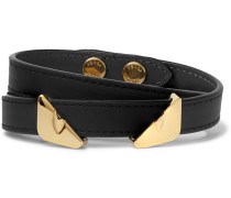 Bag Bugs Leather And Gold-tone Wrap Bracelet - Black