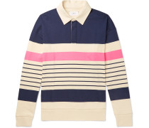 Twill-Trimmed Striped Cotton-Jersey Rugby Shirt