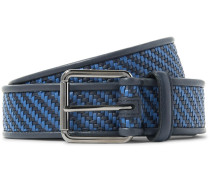 3.5cm Blue Pelle Tessuta Leather Belt - Midnight blue