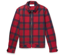 Checked Wool-blend Blouson Jacket - Red