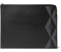 Cadogan Marquetry Full-grain Leather Zip-around Pouch - Black