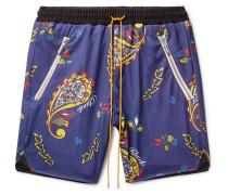 Printed Mesh Drawstring Shorts