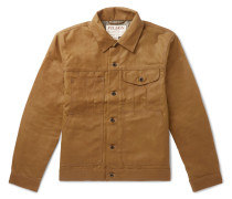 Short Lined Cruiser Waxed-cotton Jacket - Brown
