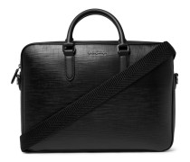 Textured-leather Briefcase - Black