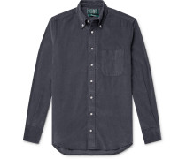 Slim-fit Button-down Collar Cotton-corduroy Shirt - Dark gray