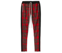 Slim-fit Tapered Checked Wool Drawstring Trousers