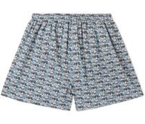 Printed Cotton Boxer Shorts - Blue