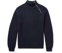 Ribbed Cashmere Half-zip Sweater