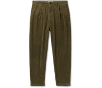 Tapered Pleated Cotton-Corduroy Trousers