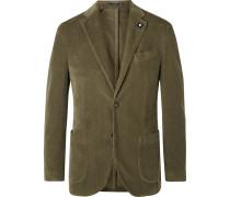 Green Slim-fit Unstructured Stretch-cotton Corduroy Blazer - Green