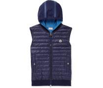 Quilted Shell Down And Cotton-blend Hooded Gilet