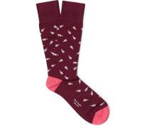 Guitar-patterned Stretch Cotton-blend Socks