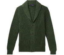Slim-fit Shawl-collar Knitted Cardigan - Green