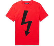 Slim-fit Logo-print Stretch-cotton Jersey T-shirt - Red